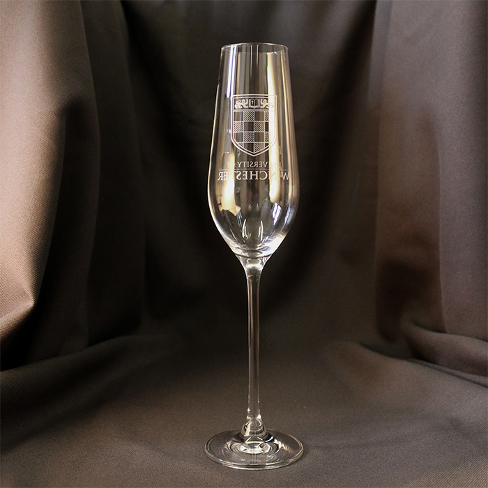 Stemmed glass with logo