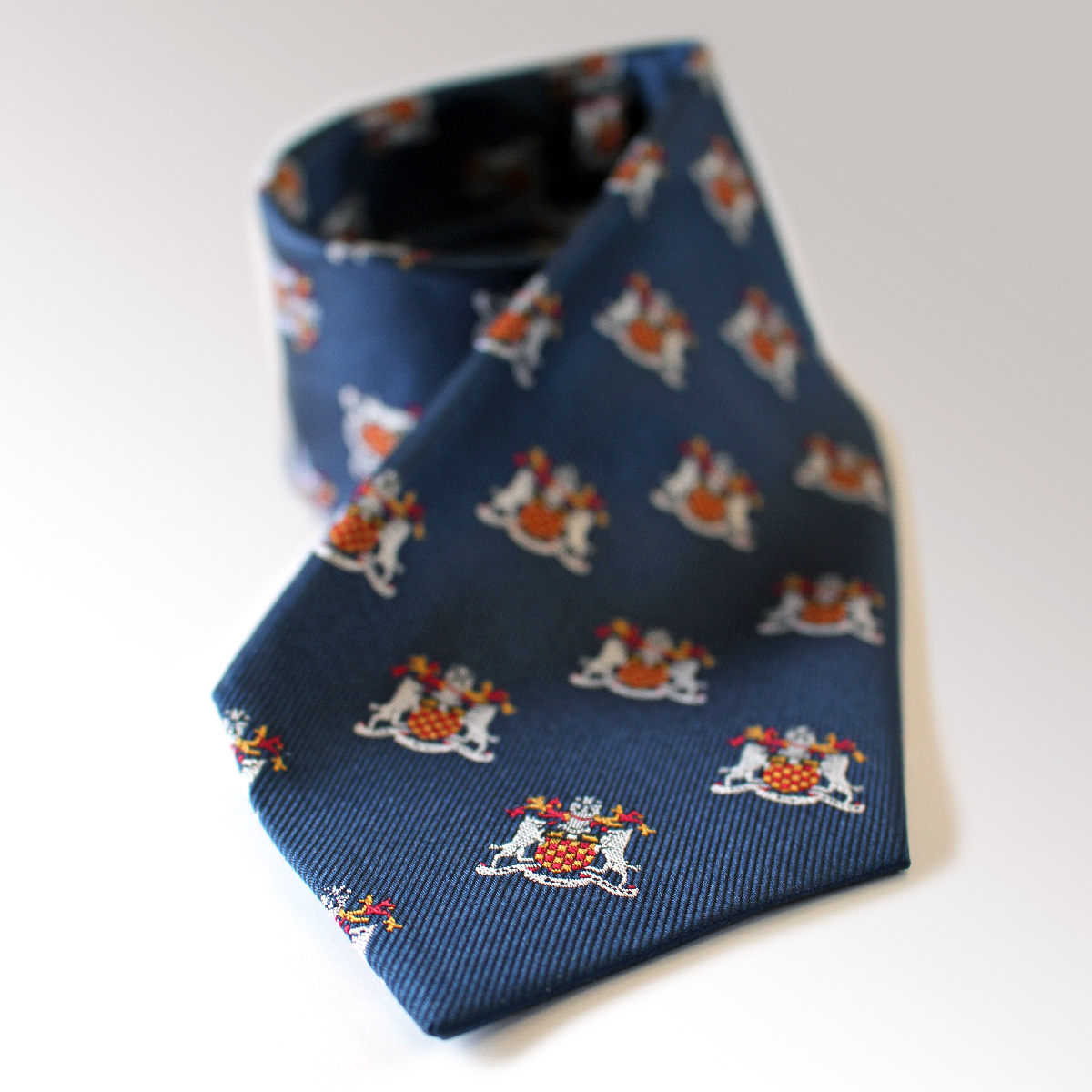 Tie with coat of arms on it