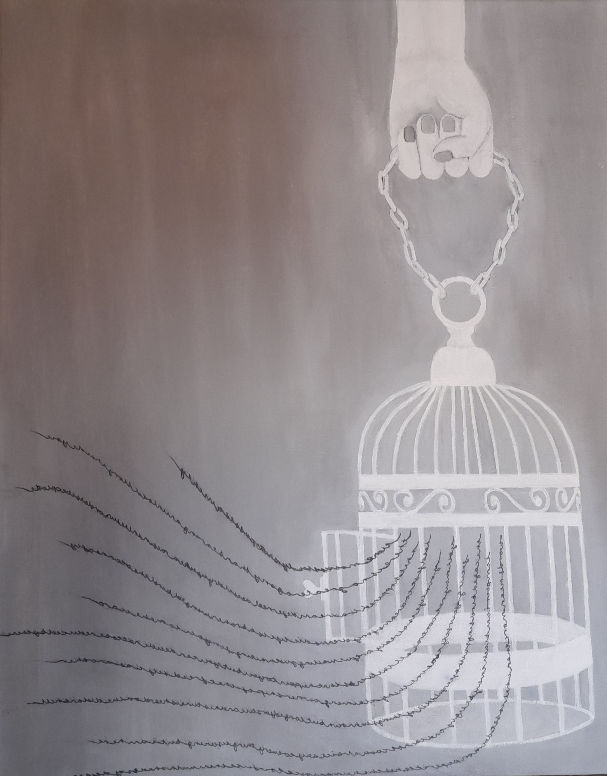 Monochrome paining of birdcage with lines of words escaping